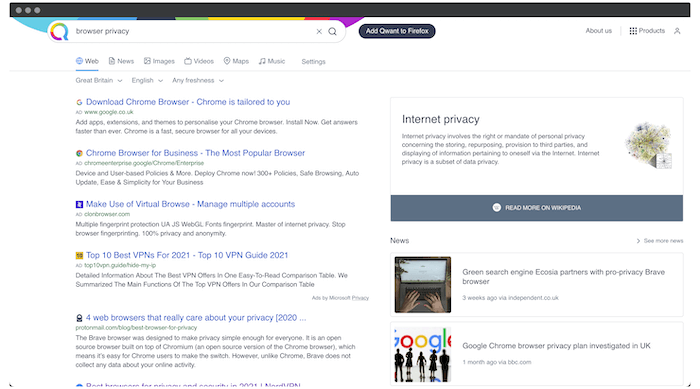 A Qwant search result.