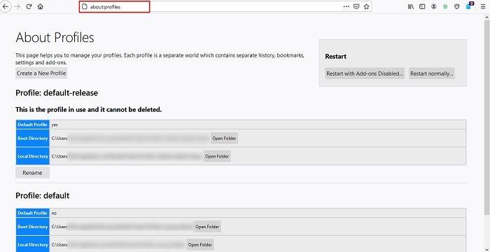 كيفية إنشاء ملفات تعريف مستخدم جديدة Firefox Chrome حول الملفات الشخصية