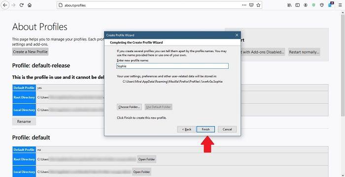 كيفية إنشاء ملفات تعريف مستخدم جديدة Firefox Chrome إنشاء اسم ملف تعريف جديد