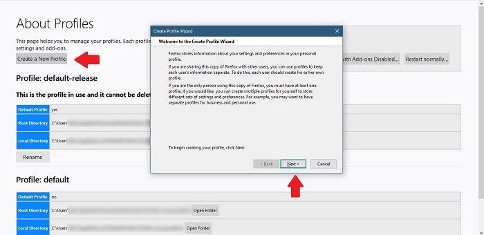 كيفية إنشاء ملفات تعريف مستخدم جديدة Firefox Chrome Create Profile Wizard