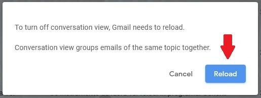 كيفية تعطيل زر إعادة تحميل عرض محادثة Gmail