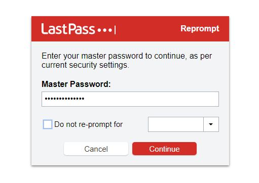 इनपुट मास्टर पासवर्ड