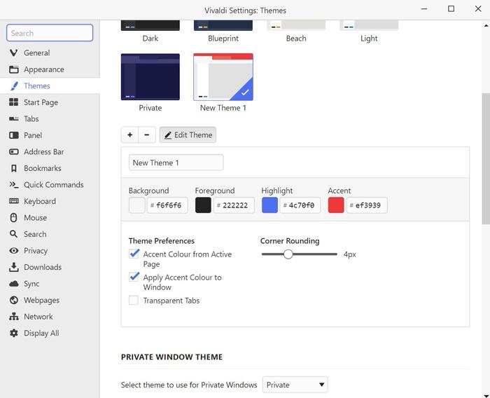 متصفحات خفيفة الوزن Windows 10 Vivaldi Themes