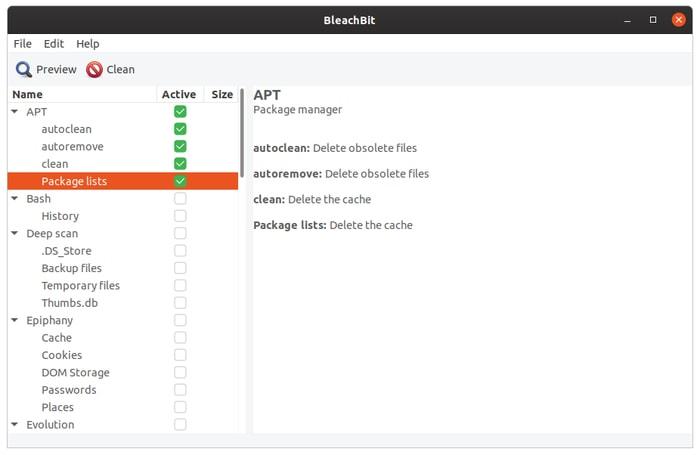أدوات تنظيف نظام Linux Bleachbit