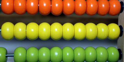 An multicolored abacus.