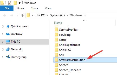 विंडोज 10 सॉफ्टवेयर वितरण फ़ाइलों को हटाने का उन्नयन