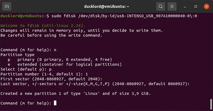 إصلاح USB في Linux Fdisk إنشاء قسم