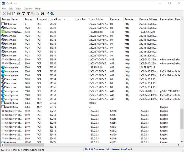 ओपन पोर्ट्स Windows Currports की जाँच करें