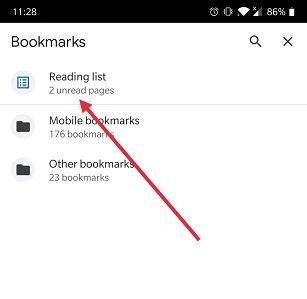 Chrome मोबाइल ओपन रीडिंग सूची में बाद की सूची कैसे जोड़ें