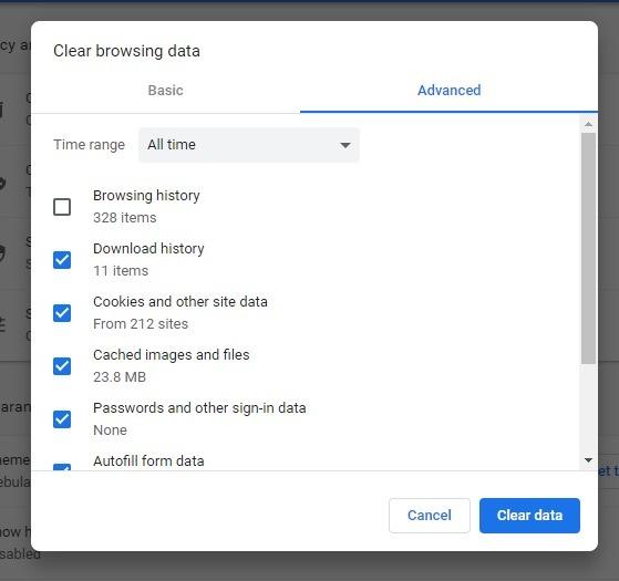 क्रोम स्पष्ट डेटा में एर कैश मिस एरर को कैसे ठीक करें