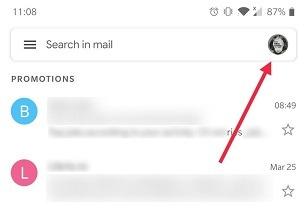 Google खाता Android Gmail App प्रोफ़ाइल Pic कैसे स्विच करें