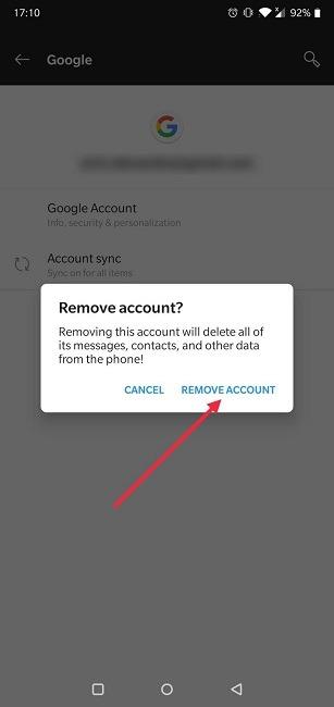 Google खाता एंड्रॉइड सेटिंग्स को कैसे स्विच करें हटाने की पुष्टि करें