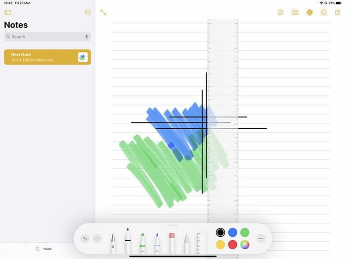 لوحة أدوات Markup Ipad في تطبيق Notes