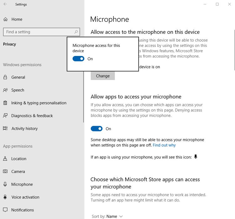 माइक्रोफोन काम नहीं कर रहा है विंडोज को एक्सेस 2 की अनुमति दें