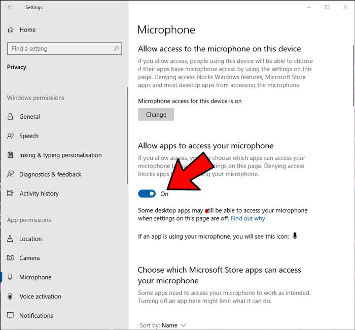 माइक्रोफ़ोन काम नहीं कर रहा है विंडोज़ 2 ऐप्स को अनुमति दें