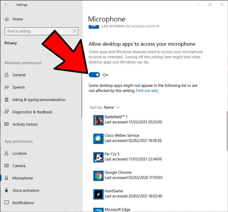 माइक्रोफ़ोन काम नहीं कर रहा है, डेस्कटॉप ऐप्स को अनुमति दें 2