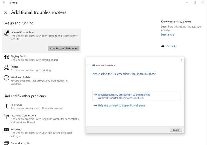 Trình gỡ rối Windows 10 không có Internet được bảo mật