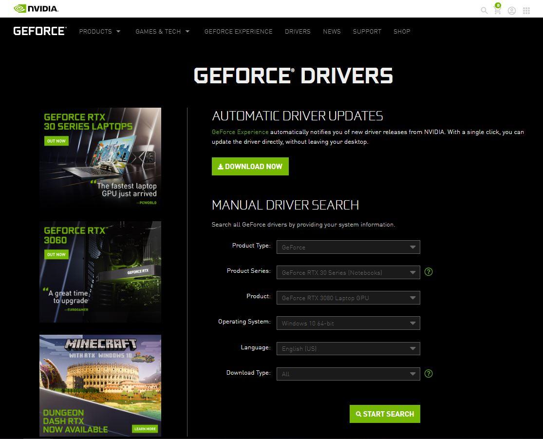 Nvidia ड्राइवर अपडेट मैनुअल