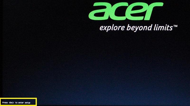 قائمة التمهيد Acer Laptop Windows 10