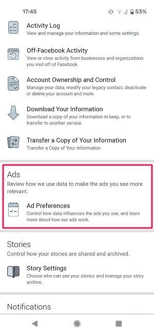 विज्ञापन गतिविधि फेसबुक मोबाइल विज्ञापन प्राथमिकताएं
