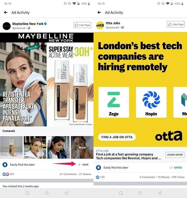 विज्ञापन गतिविधि फेसबुक मोबाइल हाल के विज्ञापन देखें