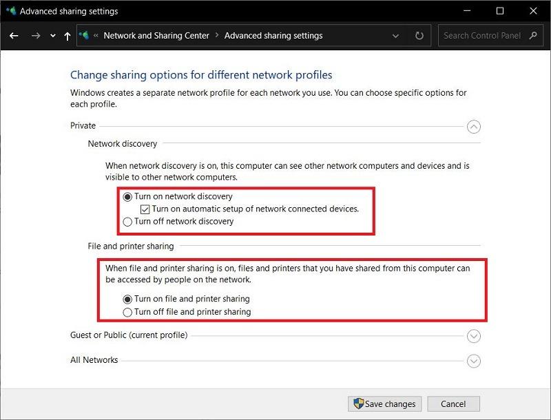 المتقدمة مشاركة اتصال الشبكة المحلية Windows 10