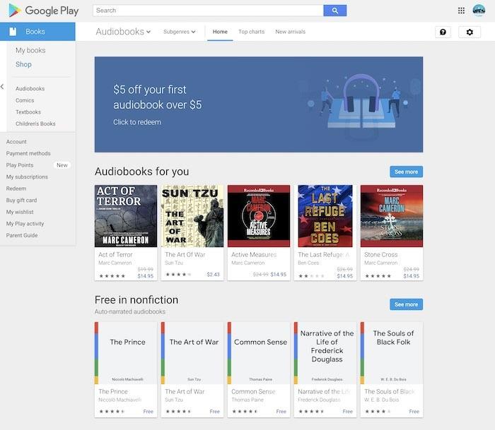 सर्वश्रेष्ठ श्रव्य विकल्प Google Play पुस्तकें