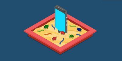 Mobile Malicious Software Application Development Sandbox Debug Flat 3d Isometric Code Programming Technology Antivirus Malware Concept Web Vector Illustration. Infected Smartphone Sand Box Bug Worm.