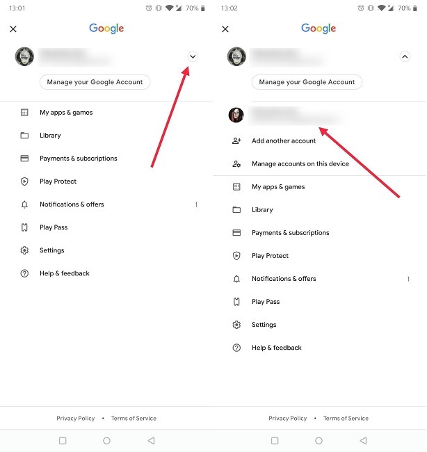 Google खाता कैसे चलाएं Android Play Store स्विच करें अन्य खाता