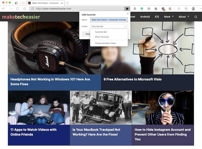 Microsoft एज संग्रह बुकमार्क बुकमार्क Mte