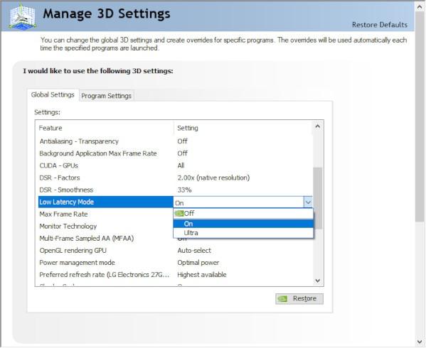 Nvidia و AMD Anti Lag Nvidia الخطوة 2