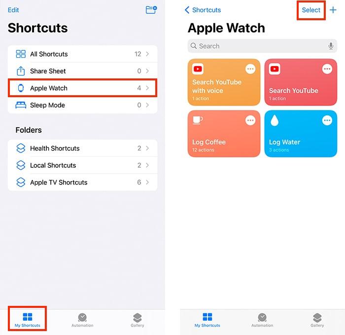 सिरी शॉर्टकट ऐप्पल वॉच सेक्शन आईफोन में शॉर्टकट ऐप में