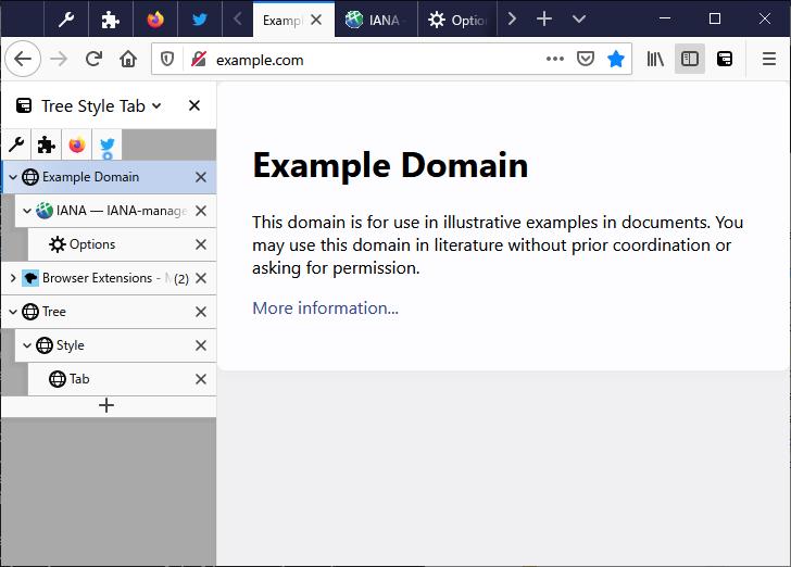 ट्री स्टाइल टैब फ़ायरफ़ॉक्स क्रोम वर्टिकल टैब