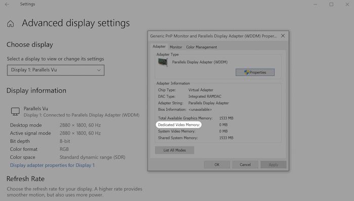 Ascertaining video memory in Windows.