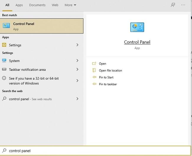 Các cách mở bảng điều khiển trong Windows 10 Bắt đầu tìm kiếm