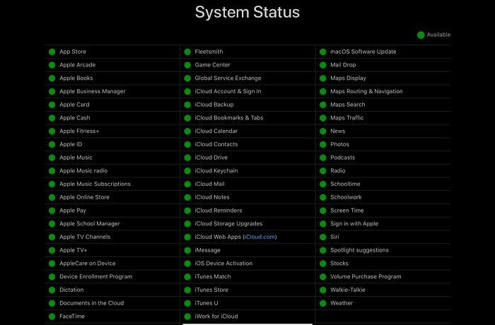 حالة النظام الثابت لتطبيق Apple Podcasts