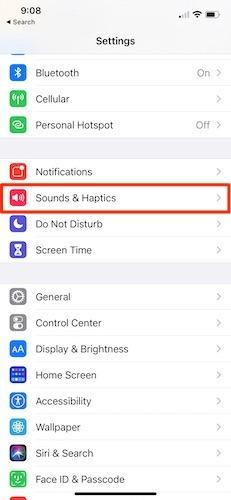 إعدادات صوت رسائل Iphone الصادرة
