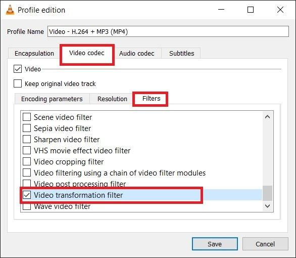 Video Transformation Filter