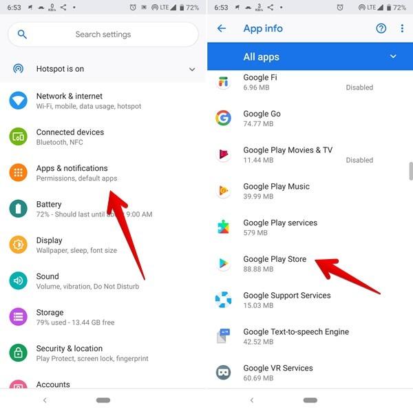 متجر Google Play من إعدادات الهاتف
