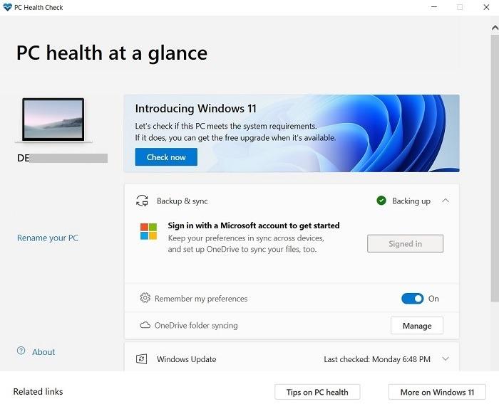 Windows11 Compatibility Pc Health Check