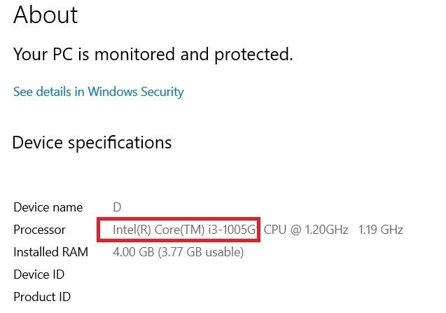 Windows11 Compatibility Processor Details