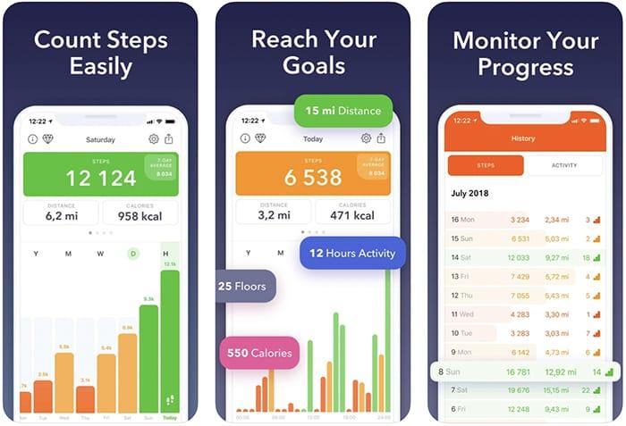 أفضل تطبيقات عداد الخطى الخطوة عداد آيفون Stepz