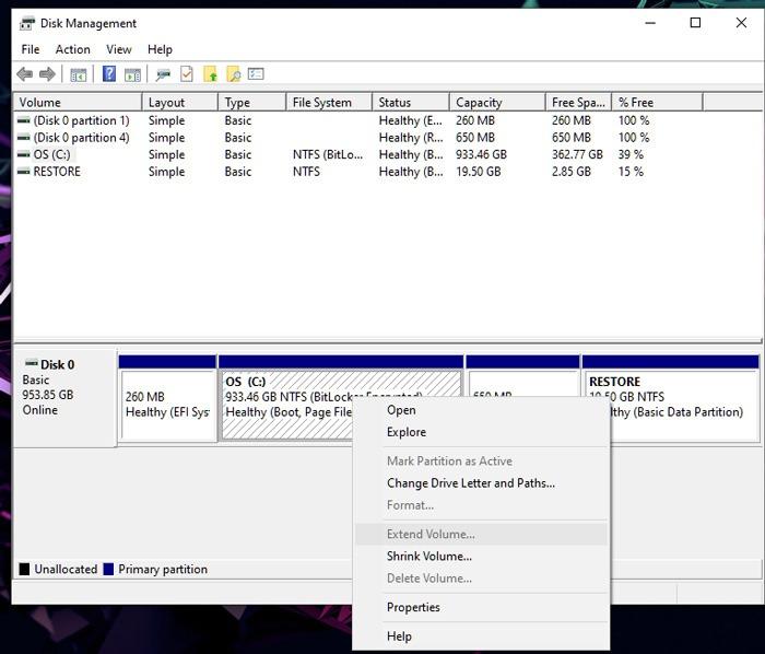 قم بتوسيع إدارة أقراص تخزين Windows 2