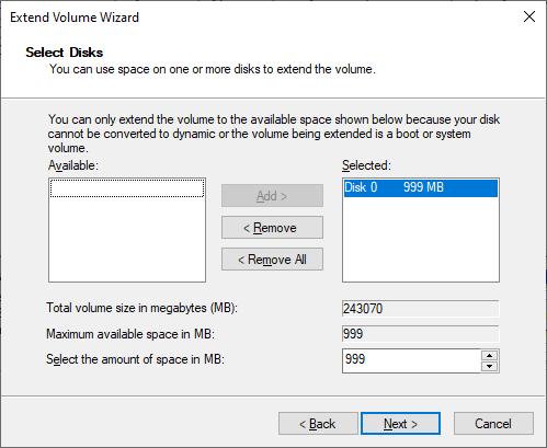 قم بتوسيع معالج توسيع وحدة تخزين Windows