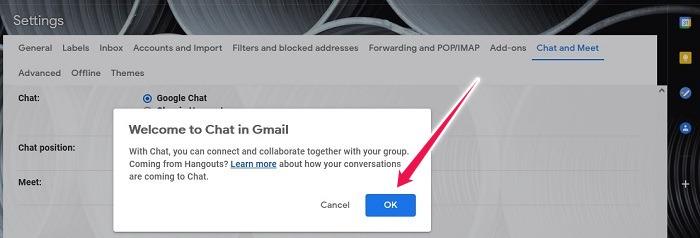 كيفية تنشيط Google Chat Gmail Desktop تأكيد الاختيار