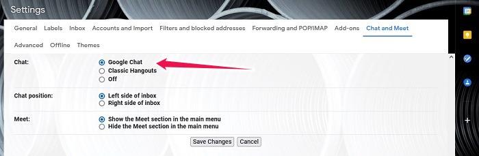 كيفية تنشيط ميزة Google Chat Gmail Desktop تمكين الميزة