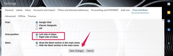 كيفية تنشيط دردشة Google Gmail سطح المكتب حفظ التغييرات