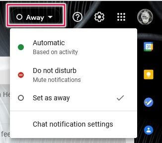 كيفية تنشيط دردشة Google Gmail سطح المكتب تعيين حالة الدردشة