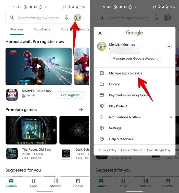 متجر Google Play إدارة تطبيقات الجهاز