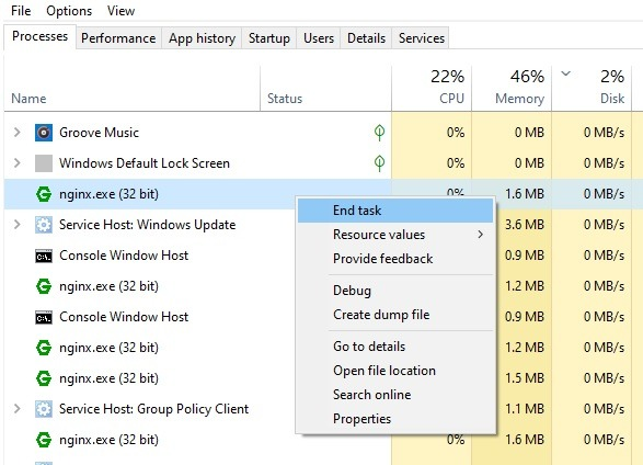 Nginx Windows End Task